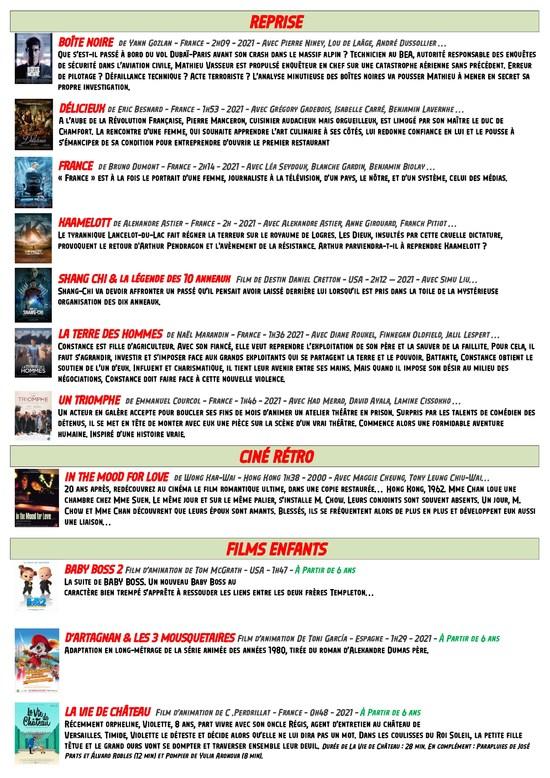 Page 3 Programme du 15 au 28 septembre 2021